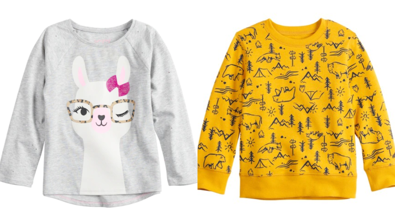 On the left: A grey sweashirt with the face of a llama wearing glasses. On the right: A yellow sweatshirt printed with trees and bears.