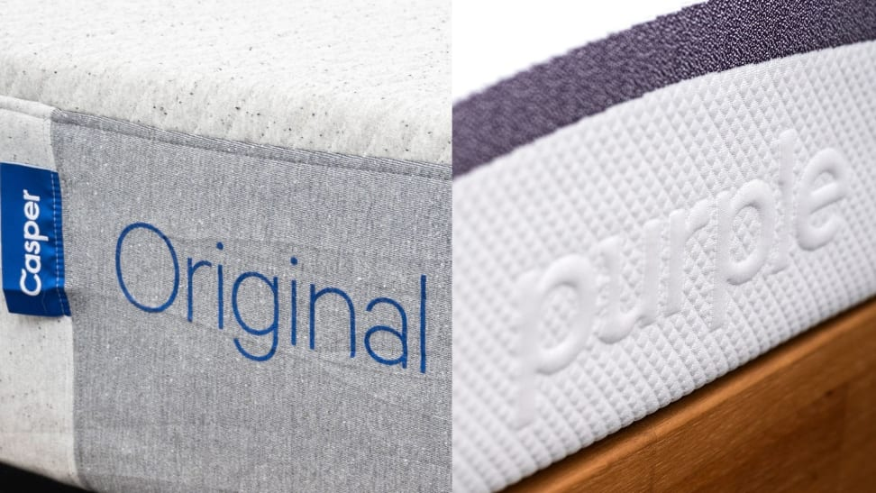 a side by side image of the name of the Casper and Purple on mattresses
