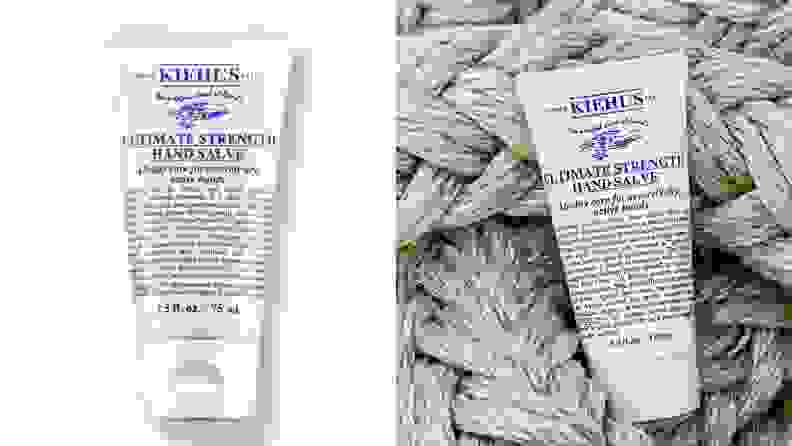 Two product shots of the Kiehl's Ultimate Strength Hand Salve.
