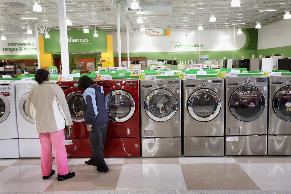 General Electric Co. (GE) clothes washers and dryers are offered for sale at a Home Depot store January 22, 2010 in Chicago, Illinois.
