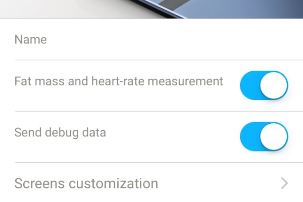 The settings page for the Smart Body Analyzer