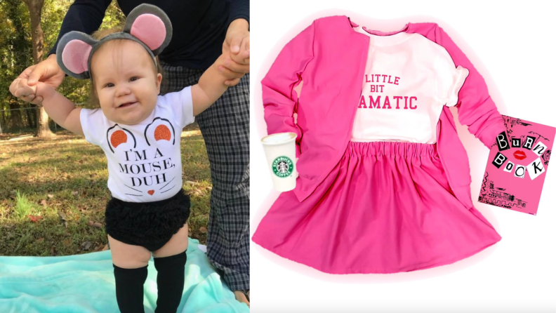 On left, child dressed in mouse Halloween costume. On right, Mean Girls inspired Halloween costume.